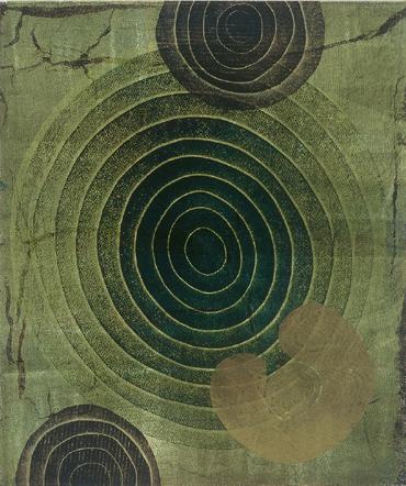 "Title: Rings Series No. 70 Dimensions: 24"" x 20"" Monoprint"
